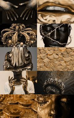 """This pin represents King Midas as it has many representations of gold and riches and covered in gold. This shows how King Midas turns everything he touches to gold. """"Midas aesthetic, greek mythology (x)"""" Queen Aesthetic, Gothic Aesthetic, Angel Aesthetic, Black Girl Aesthetic, Princess Aesthetic, Character Aesthetic, Types Of Angels, King Midas, 7 Deadly Sins"""