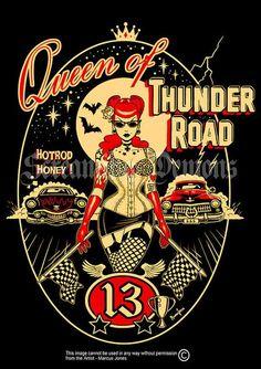 Thunder Road Rockabilly Pinup tattooed PinupArt by MarcusJonesArt