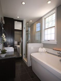 Master Bathroom layout- similar to what i already have so i can see that a stand alone tub and glass/tile shower would work, though I'd go with a smaller, but deeper, tub to make a larger shower Master Bathroom Layout, Narrow Bathroom, Bathroom Spa, Bathroom Ideas, Bathroom Colors, Bathroom Designs, Bathroom Lighting, Serene Bathroom, Dark Bathrooms