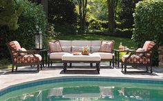 We couldn't think of a more relaxing setting. Sit back and enjoy summer with this Lexington Home Brands Black Sands Outdoor Seating Set. Functional and stylish, this will be your favorite piece of backyard furniture. #LexingtionHomeBrands #Outdoorentertaining #FurniturelandSouth