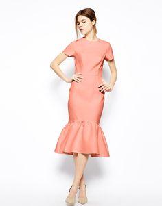 ASOS Pencil Dress With Peplum Hem In Texture