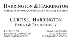 Front Side of Business Card with web site, E-mail & Telephone numbers University Of San Diego, University Of Houston, Georgia Institute Of Technology, Tax Attorney, Tax Debt, Federal Income Tax, Succession Planning, Tax Preparation, Chemical Engineering