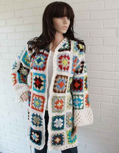 "(Granny Square Coat Pattern  PB093 by Maggiescrochet on Etsy, $7.99)  I don't know why, but when I saw this I instantly thought, ""Grannysquare coat, bitches!"" Pahaha!"