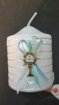 Vela decorada para primera comunión