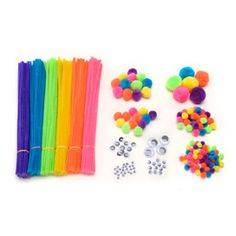 Big Value Neon Craft Pack - Chenille Stems, Pom Poms & Wiggle Eyes - 300 pack
