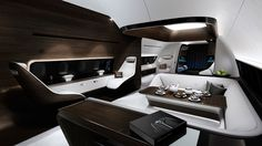 A collaboration between Mercedes-Benz Style and Lufthansa Technik, this VIP Jet Cabin is designed to be the epitome of style and luxury, with the same attention to detail you'd find in high-end Mercs on the road. Described by Mercedes as Jets Privés De Luxe, Luxury Jets, Luxury Private Jets, Private Plane, Mercedes Benz, Executive Jet, Airplane Interior, Private Jet Interior, Modern Bedrooms