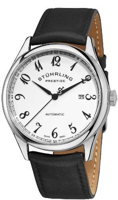 Stuhrling Prestige Men's 171B2.33153 Prestige Classic Swiss Made Cuvette Automatic Date Black Watch Stuhrling Prestige. $226.00. Polished stainless steel round shaped case with coin edged crown. Swiss made automatic movement with protective krysterna crystal on front and back. Water-resistant to 50 m (165 feet). Black genuine leather strap with prestige logo on buckle. White glossed enamel dial with printed arabic numerals and outer chapter ring with date window