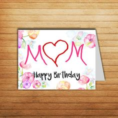 Mother Birthday Card #mother #birthday #card #printable #mom #gift #mum #happybirthday #birthday #iloveyou #funny #momcard #mothergift #her #instant #download