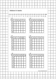 Schede didattiche che propongono addizioni e sottrazioni in tabella per la prima classe della scuola primaria