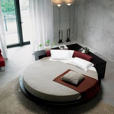 Round beds catch a stigma in most spaces, but there are some spaces that just revel in a nice, round bed design. Vig furniture design creates a whole slew of contemporary pieces for the home, with multiple round beds in their repertoire. Platform Bed Designs, Modern Platform Bed, Bed Platform, Modern Bedroom Furniture, Contemporary Bedroom, Home Furniture, Modern Contemporary, Lobby Furniture, Acrylic Furniture