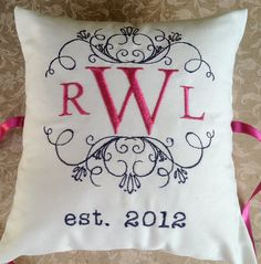 Personalized Ring Bearer Pillow III RB107 by ElegantThreadsEtc, $32.95
