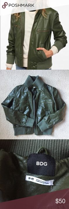BDG Green Faux Leather Jacket Looks brand new! BDG faux leather green bomber jacket. Only worn a handful of times. Size medium but could also fit a small.   Check out my page for more name brand clothing! BDG Jackets & Coats