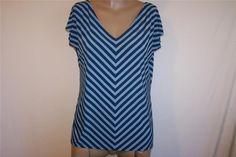 LIZ & CO Shirt Top Sz L Short Cap Sleeves Spandex Stretch Blue Striped V Neck #LizCo #KnitTop #Casual