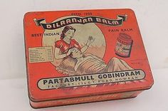 Vintage-DILRANJAN-BALM-PAIN-BALM-Advertising-Litho-TIN-BOX-ADV-EHS