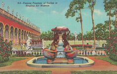 1950 Linen Postcard Ringling Art Museum and Fountain of Turtles in Sarasota