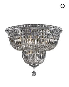 Empress Flush Mount Basket Chandelier - CHROME & SMOKE - W:50cm – Designer Chandelier Australia