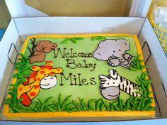 Jungle Safari Baby Shower Cake! Safari Baby Shower Cake, Baby Shower Cakes For Boys, Boy Baby Shower Themes, Baby Shower Decorations, Baby Boy Shower, Jungle Theme Baby Shower, Jungle Safari Cake, Jungle Theme Cakes, Safari Theme