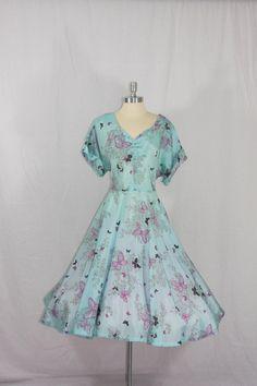1950's Vintage Dress XL Plus size Aqua Novelty Print  by VintageFrocksOfFancy