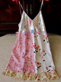 Romantic Roses Slip Dress Silk Crepe Crocheted Flowers Ribbon Roses