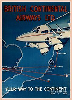 Vintage Travel & Aviation BRITISH CONTINENTAL AIRWAYS c1935