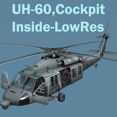 Uh60 Blackhawk Helicopter Cockpit 3D Model - 3D Model