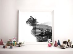 Fine Art Photography Cat Poster Black and White by JasonMcGroarty