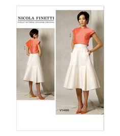 Vogue Pattern V1486-E50 Misses' Crop Top and Flared Yoke Skirt-14-16-18-20-22