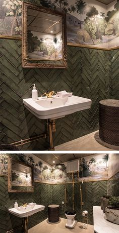 Make your restroom get all the attention! This jungle wallpaper makes a perfect match to the fishbone tiles in green, here at the restaurant Balthazar in Sweden. esszimmer fototapete Lush jungle wallpaper in this fabulous toilet Hallway Wallpaper, Office Wallpaper, Kids Room Wallpaper, Modern Wallpaper, Wallpaper Toilet, Interior Wallpaper, Small Toilet Room, Guest Toilet, Studio House