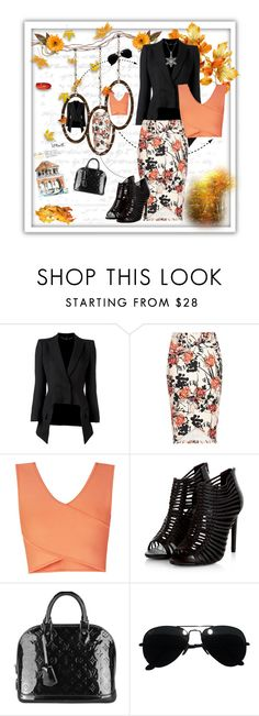 """""""Floral orange skirt..."""" by nannerl27 ❤ liked on Polyvore featuring Alexander McQueen, BCBGMAXAZRIA, Louis Vuitton and Ray-Ban"""