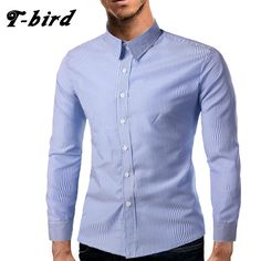 T-Bird Brands Men Shirt 2017 Turn-Down Collar Long Sleeve Stripe Slim Fit Dress Shirt Mens Regular Fit Cotton Men Shirts XXL FSD #Affiliate