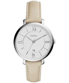 Women's Fossil Jacqueline White Leather Strap Watch ES3793