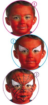 Spiderman Face Painting Instructions craft for kids - makeup Spiderman Craft, Spiderman Face, Face Painting Spiderman, Spider Man Face Paint, Face Painting For Boys, Face Painting Designs, Painting Tutorials, Halloween Crafts, Halloween Makeup