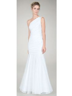 10 #Wedding Dresses Under 300: Tadashi Shoji One Shoulder Ruched Gown in Ivory, $184