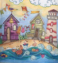 Illustrations, Illustration Art, Arte Country, Cottage Art, House Quilts, Naive Art, Whimsical Art, Beach Art, Rock Art