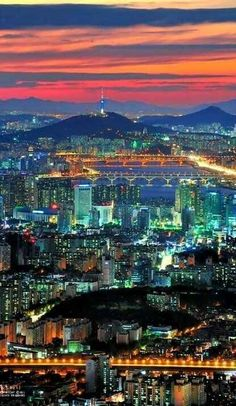 Seoul City SOUTH KOREA - The colors in this photo are so dynamic and complex. The warm and cool colors looking like they're dancing throughout the picture. Where are your favorite places to take pictures in Seoul? Places Around The World, The Places Youll Go, Places To Visit, Around The Worlds, Thinking Day, City Lights, Asia Travel, Dream Vacations, The Journey