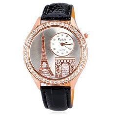 Delicate Leather Band Women Quartz Watch with Diamonds Tower Round Dial #shoes, #jewelry, #women, #men, #hats, #watches