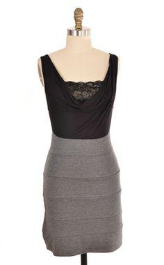 M USA Black Contrast Lace Dress Size M   ClosetDash #fashion #style #dresses #black #grey #gray #lace