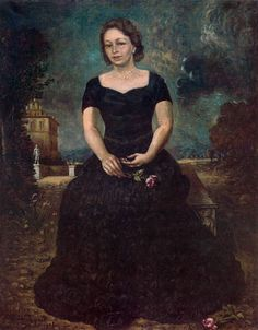 Portrait of Isa with rose in park Artist: Giorgio de Chirico Completion Date: 1938 Place of Creation: Rome, Italy