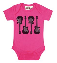 4 Guitars Hot Pink Rock & Roll Onesie - by My Baby Rocks www.punkbabycloth... - cool, punk, rocker & alternative baby onesies and toddler clothes
