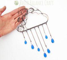 Wire work cloud decoration with kinetic movement. Cloud Decoration, Cloud Art, Cloud Shapes, Rain Clouds, Window Art, Sun Catcher, Wire Art, Rain Drops, Czech Glass Beads