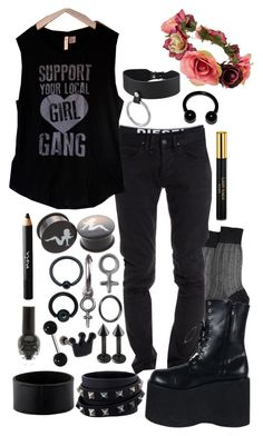 """""""axel - dean & jersey's gender reveal party"""" by kinathegreat ❤ liked on Polyvore featuring Diesel, Maria La Rosa, CYCLE, Forever 21, Tressa, Rachel Entwistle, Hermès, Valentino, Noir Cosmetics and men's fashion"""