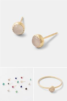 Handmade Gold Jewellery Solid Stud Earrings With Rose Quartz Gemstones By