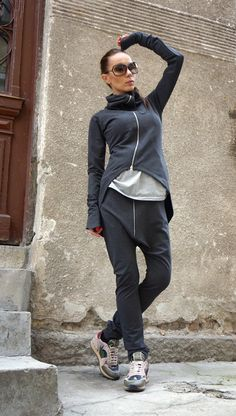 *********** All Orders Shipped via DHL EXPRES *********** This gorgeous comfortable Dark Grey drop crotch pants will be your Must have garment for the new season... Asymmetrical Front long zipper ,side pockets , adjustable waistline ,both high and low wasted ... So comfy and easy to wear at