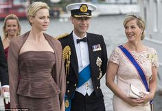 Sophie Rhys-Jones, Countess of Wessex and Princess Charlene of Monaco with Prince Edward, Earl of Wessex leaving for Drottningholm Palace after the wedding