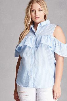 Plus Size Open-Shoulder Shirt