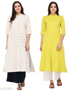 Kurtis & Kurtas Multicolored Cotton Kurti (Combo of 2)  *Fabric* Cotton  *Sleeves* Sleeves Are Included  *Size* XS, S, M, L, XL, XXL, 3XL,4XL ( Refer Size Chart For Details )  *Type* Stitched  *Description* It Has Combo of 2 Kurti  *Pattern* Solid  *Sizes Available* XS, S, M, L, XL, XXL, XXXL, 4XL *    Catalog Name: Solid Cotton Kurtis CatalogID_10640 C74-SC1001 Code: 949-107583-