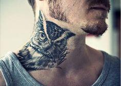 Amazing Neck Tattoo Ideas for Men: From Animals to Symbols : Owls Neck Tattoo Ideas