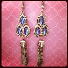 3 stone blue and gold fringe earrings