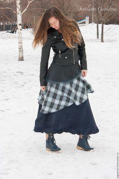 """Купить Бохо-юбка """"Искательница приключений"""" - серый, красиво, лаконичный, юбка в пол, длинная юбка"""