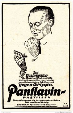 Original-Werbung/ Anzeige 1928 - PANFLAVIN GEGEN GRIPPE - ca. 60 x 110